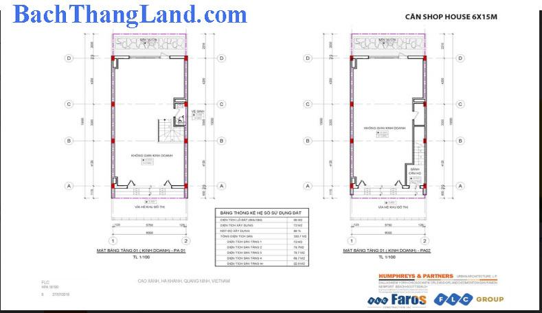 Thiết kế mặt bằng nhà phố 90 m2 FLC Tropical City Hạ Long