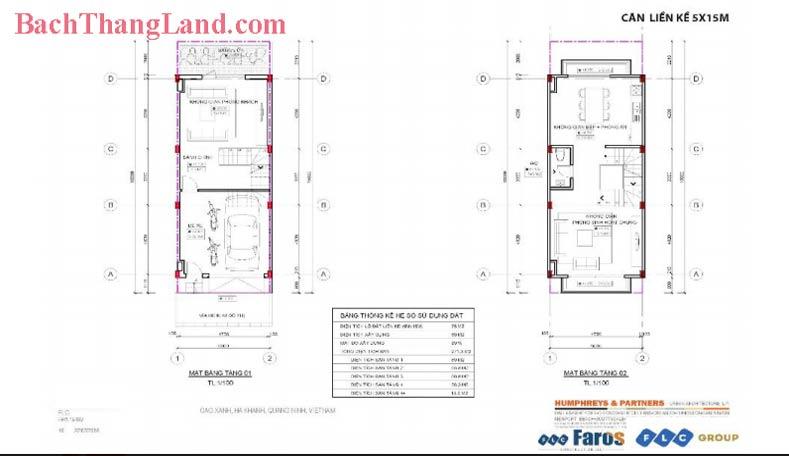Thiết kế mặt bằng liền kề 75 m2 FLC Tropical City Hạ Long