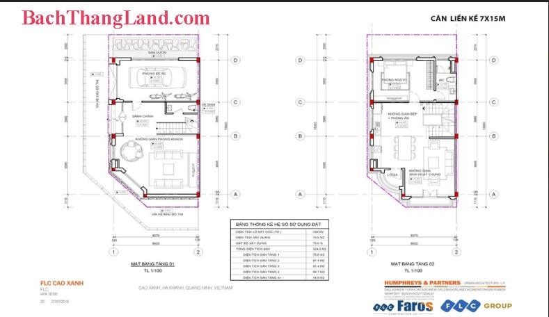 Thiết kế mặt bằng liền kề căn góc 105 m2 FLC Tropical City Hạ Long