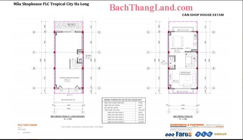 Thiết kế mặt bằng nhà phố 75 m2 FLC Tropical city Hạ Long