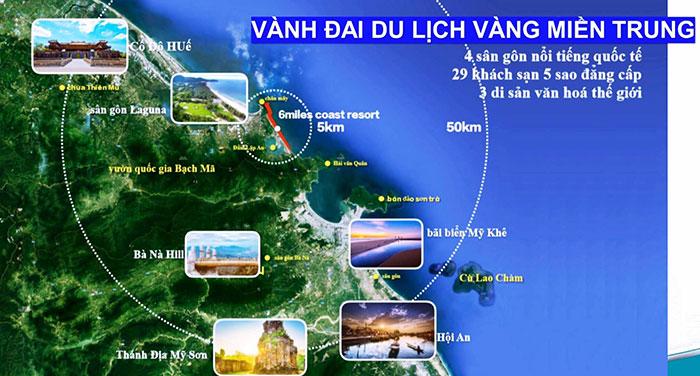 vị trí dự án nằm giữa vành đai du lịch miền trung